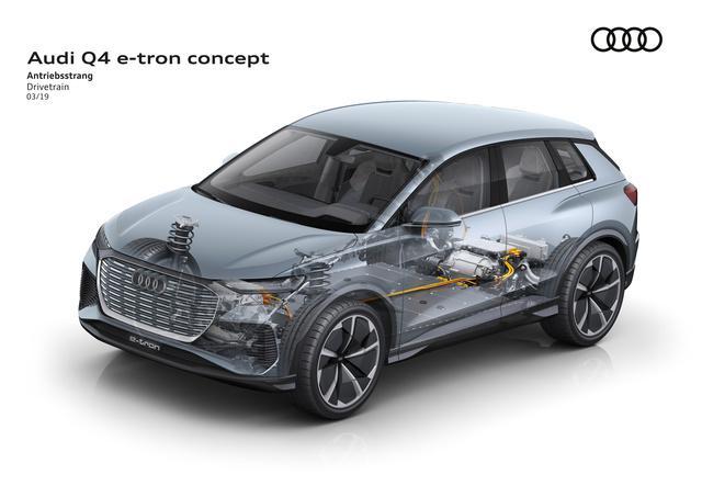 Schema che evidenzia la piattaforma MEB utilizzata per lo sviluppo del nuovo suv compatto Audi Q4 e-tron