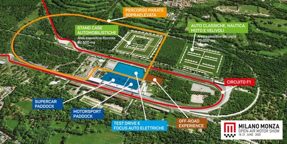 Mappa del Milano Monza Motor Show 2020