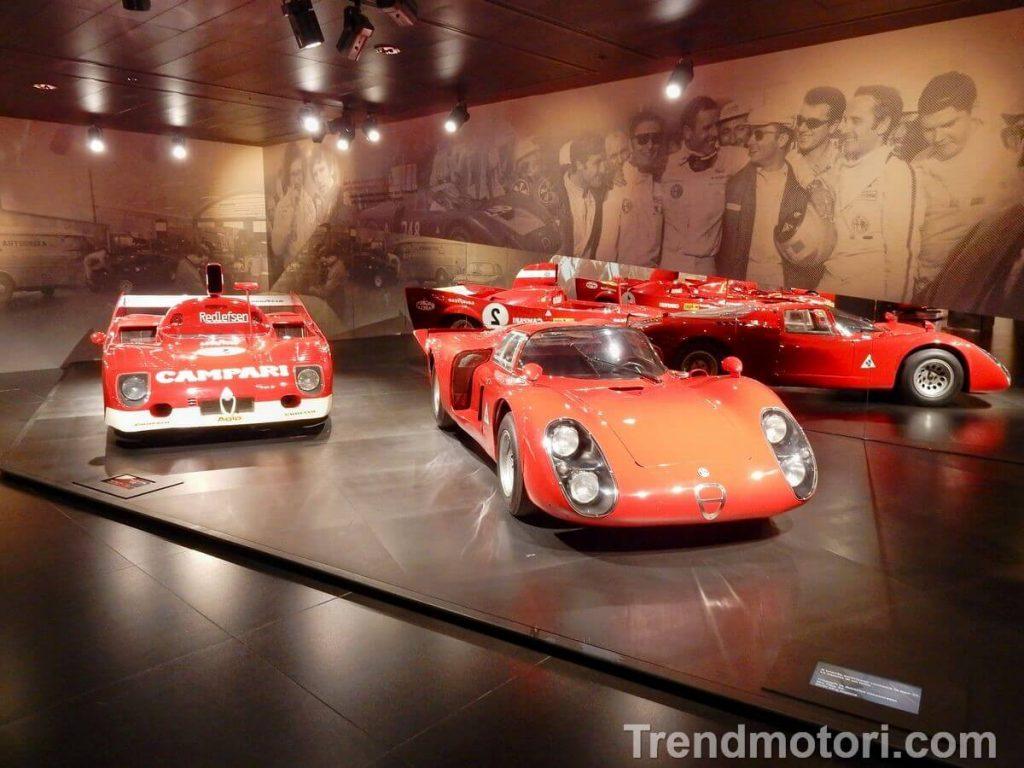 Vetture storiche da competizione in esposizione al Museo Alfa Romeo di Arese